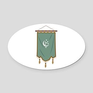 Odd Fellow Moon Banner Oval Car Magnet