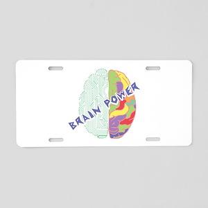 Brain Power Aluminum License Plate