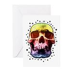 Pop Art Skull Face Greeting Cards