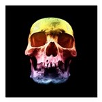 Pop Art Skull Face Square Car Magnet 3