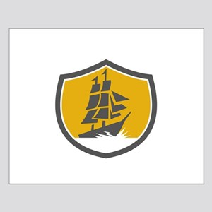 Sailing Galleon Tall Ship Crest Retro Posters