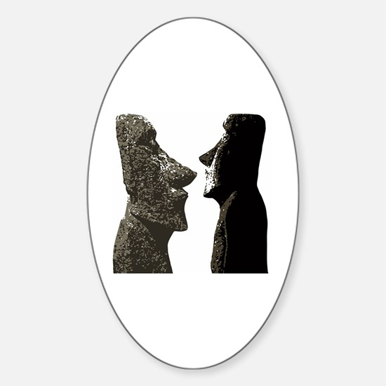 Cute Easter island heads Sticker (Oval)