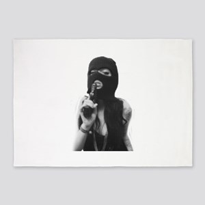 Halftone girl with a gun 5'x7'Area Rug