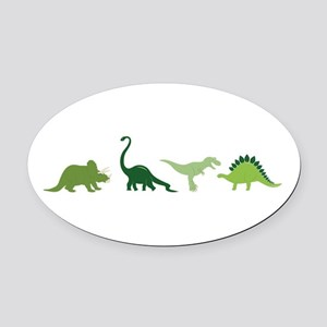Dino Border Oval Car Magnet