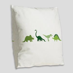 Dino Border Burlap Throw Pillow