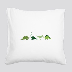 Dino Border Square Canvas Pillow