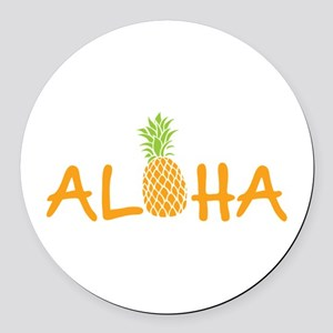 Aloha Pineapple Round Car Magnet