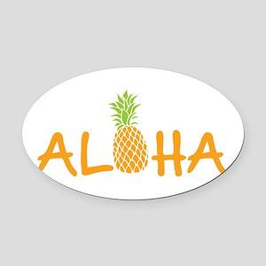 Aloha Pineapple Oval Car Magnet