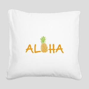Aloha Pineapple Square Canvas Pillow