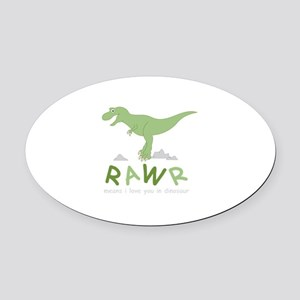 Dinosaur Rawr Oval Car Magnet