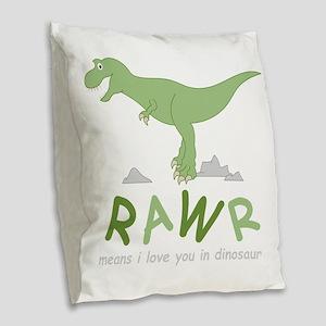 Dinosaur Rawr Burlap Throw Pillow