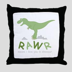 Dinosaur Rawr Throw Pillow