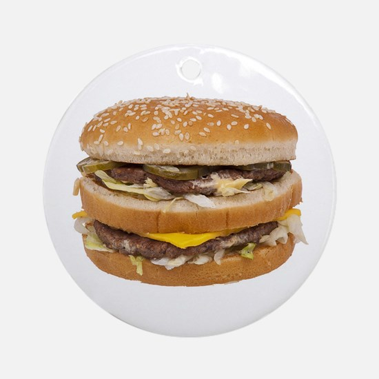 Double Cheeseburger Round Ornament