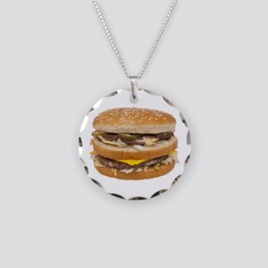 Double Cheeseburger Necklace Circle Charm