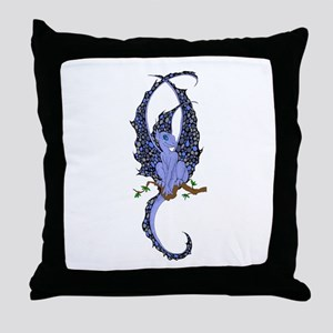 Perched Blue Dragonette Throw Pillow