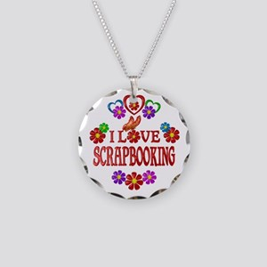I Love Scrapbooking Necklace Circle Charm