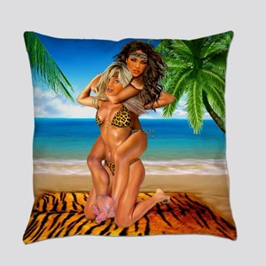 Foxy Jungle Wrestlers Everyday Pillow