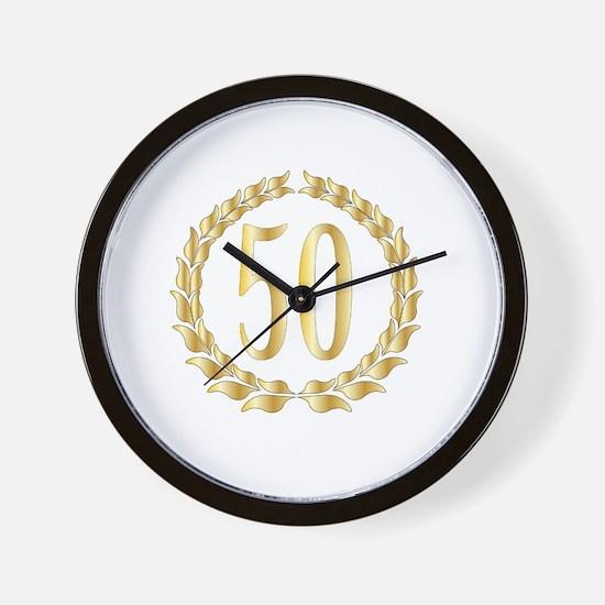 Cute Golden wedding anniversary Wall Clock