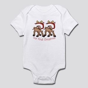 First Christmas TWIN Deer Infant Bodysuit