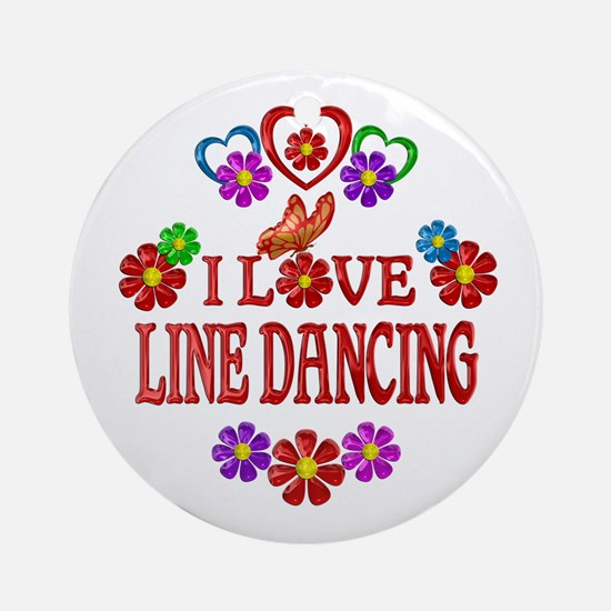 I Love Line Dancing Round Ornament