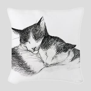 Cat Nap Snuggle II Woven Throw Pillow