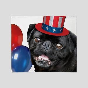 Pug Dog 4th of July Throw Blanket