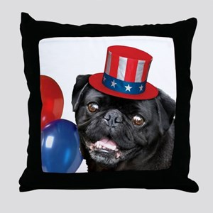 Pug Dog 4th of July Throw Pillow