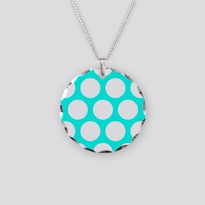 Blue, Turquoise: Polka Dots Necklace Circle Charm