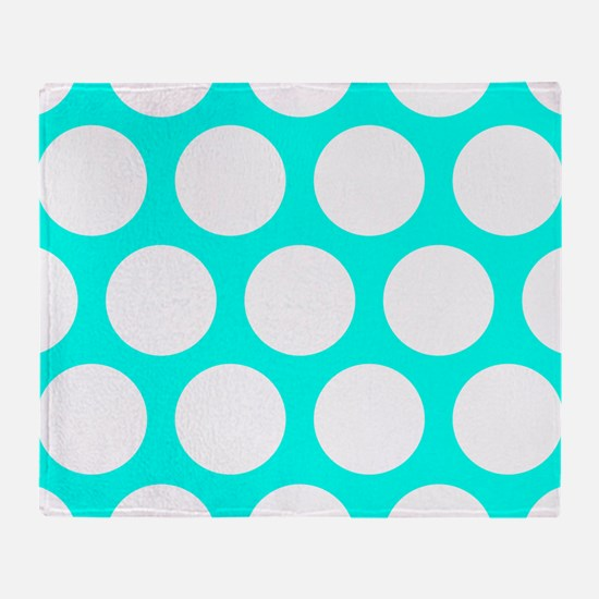 Blue, Turquoise: Polka Dots Pattern Throw Blanket
