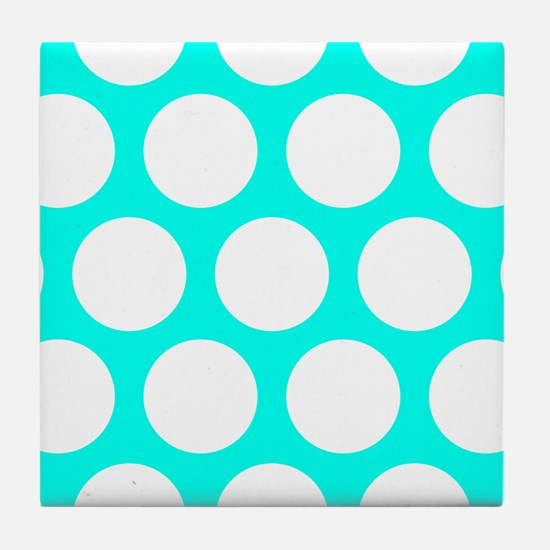 Blue, Turquoise: Polka Dots Pattern ( Tile Coaster