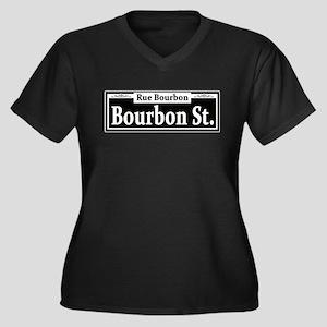 Bourbon St. Sign Women's Plus Size V-Neck Dark T-