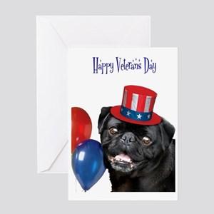 Happy Veteran's Day Pug Dog Greeting Cards