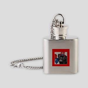 Patriotic pug dog Flask Necklace