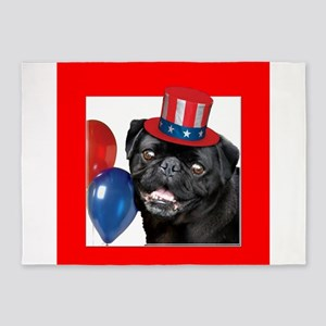 Patriotic pug dog 5'x7'Area Rug