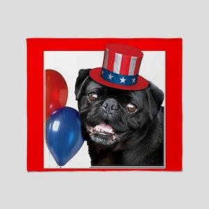 Patriotic pug dog Throw Blanket