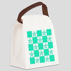 Mint Green Tattoo Stars Canvas Lunch Bag