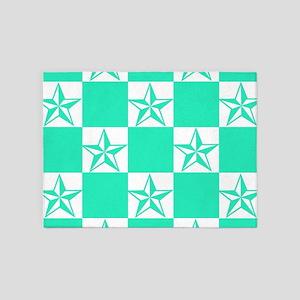 Mint Green Tattoo Stars 5'x7'Area Rug