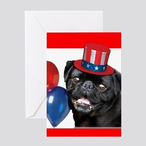 Patriotic pug dog Greeting Cards