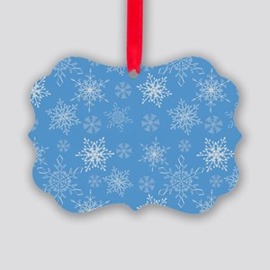 Glittery Snowflakes over Blue Bac Picture Ornament