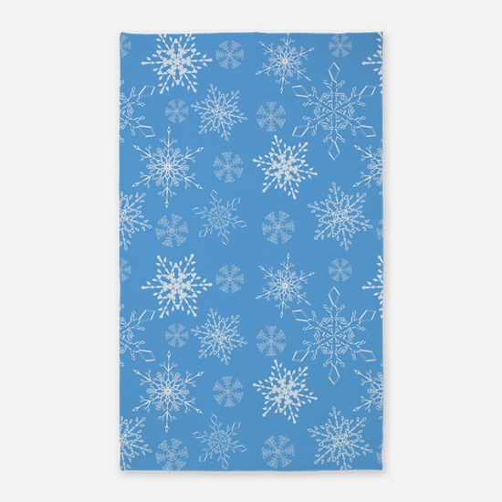 Glittery Snowflakes over Blue Background Area Rug