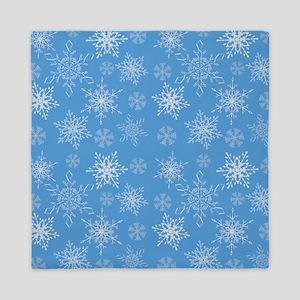 Glittery Snowflakes over Blue Backgrou Queen Duvet