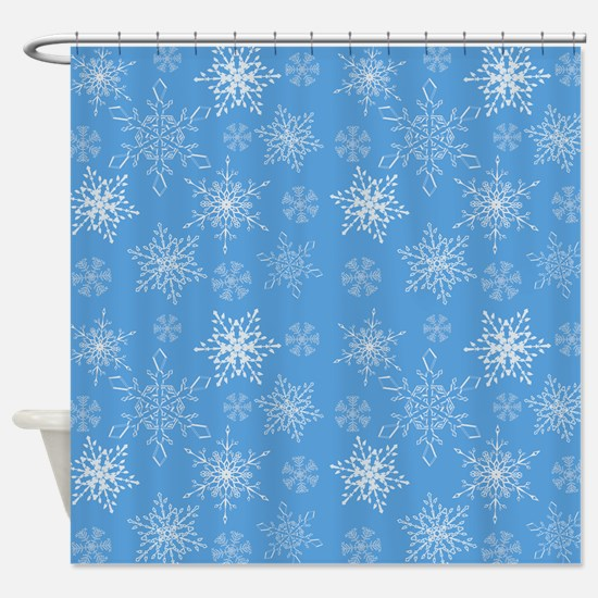 Glittery Snowflakes over Blue Backg Shower Curtain