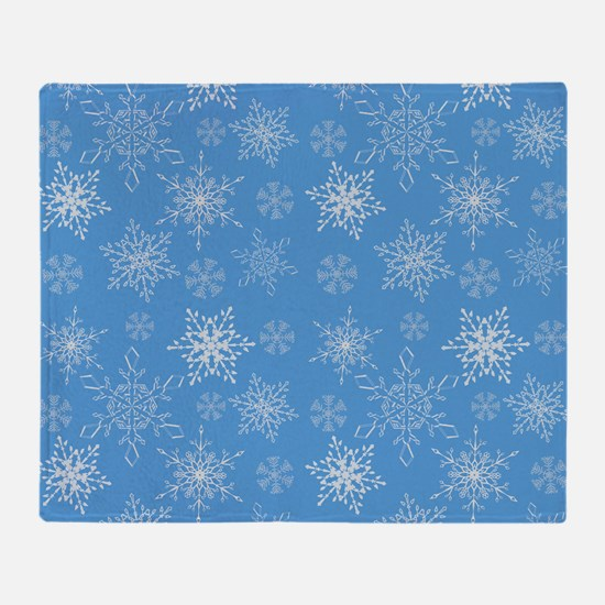 Glittery Snowflakes over Blue Backgr Throw Blanket