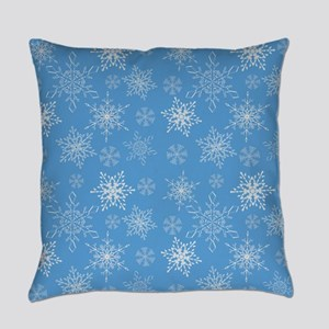 Glittery Snowflakes over Blue Back Everyday Pillow