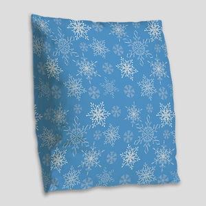Glittery Snowflakes over Blue Burlap Throw Pillow
