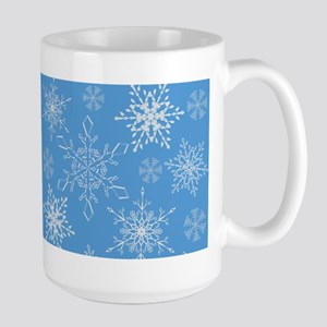 Glittery Snowflakes over Blue Background Mugs