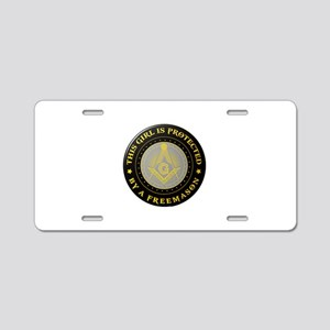 Protected by Freemason Aluminum License Plate