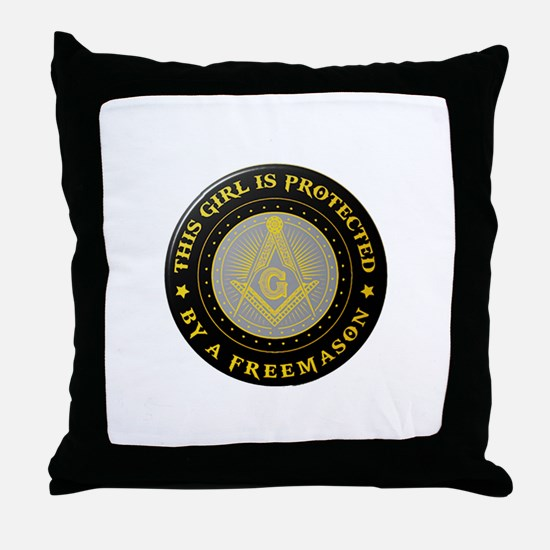 Protected by Freemason Throw Pillow