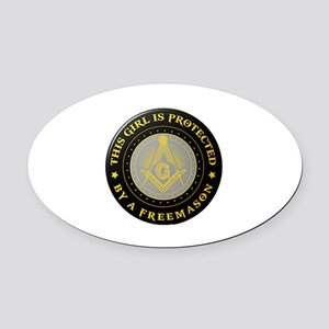 Protected by Freemason Oval Car Magnet