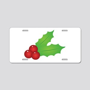 Christmas Holly Aluminum License Plate